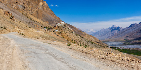 unsurfaced road: Ki monastery. Spiti Valley, India