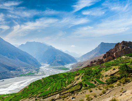 unsurfaced road: Spiti valley and river in Himalayas