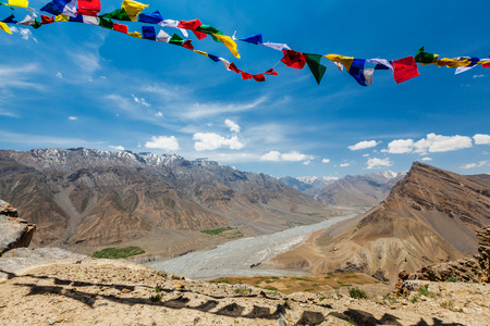 himalayas: Buddhist prayer flags lungta in Spiti valley Stock Photo