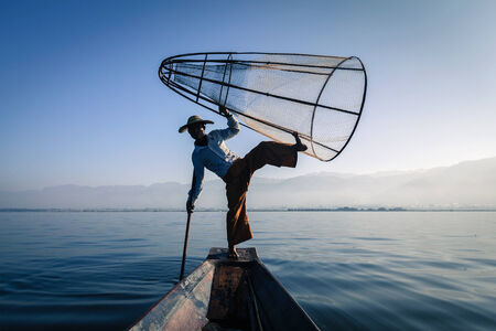 inle: Burmese fisherman at Inle lake, Myanmar