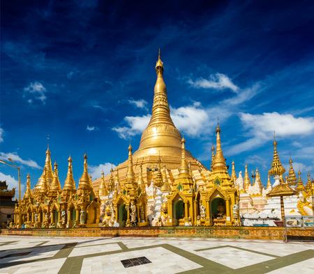 Myanmer famous sacred place and tourist attraction landmark - Shwedagon Paya pagoda. Yangon, Myanmar