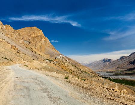 ki: Road to Ki Monastery. Spiti Valley,  Himachal Pradesh, India Stock Photo