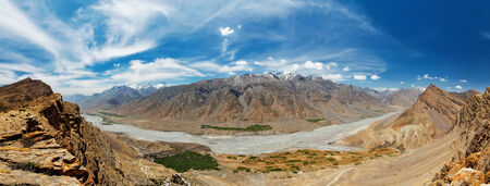 Panorama of Spiti valley in Himalayas. Himachal Pradesh, India photo