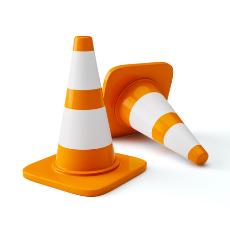 Orange highway traffic construction cones with white stripes isolated on white photo