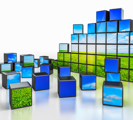 reflective background: Ecology environmetal nature protection concept - cubes with beautiful landscape on white reflective background