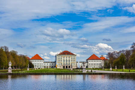 nymphenburg palace: Grand Parterre and the rear view of the Nymphenburg Palace. Munich, Bavaria, Germany