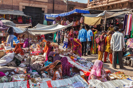 JODHPUR, INDIA - NOVEMBER 26, 2012: People in Indian street market in Jodhpur, Rajasthan, India