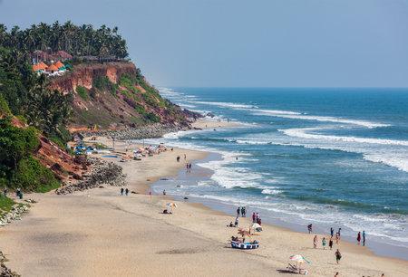 varkala: VARKALA, INDIA - FEBRUARY 22, 2013: One of India finest beaches - Varkala beach, Kerala, India Editorial