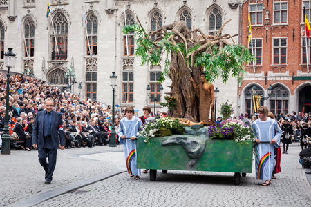 biblical events: BRUGES, BELGIUM - MAY 17: Annual Procession of the Holy Blood on Ascension Day. Locals perform  dramatizations of Biblical events - Cain and Abel. May 17, 2012 in Bruges (Brugge), Belgium