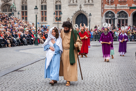 biblical events: BRUGES, BELGIUM - MAY 17: Annual Procession of the Holy Blood on Ascension Day. Locals perform  dramatizations of Biblical events - Saint Mary and Joseph. May 17, 2012 in Bruges (Brugge), Belgium Editorial