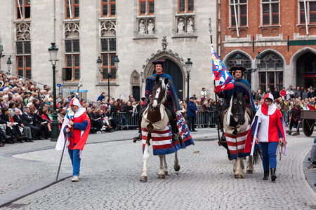 BRUGES, BELGIUM - MAY 17: Annual Procession of the Holy Blood on Ascension Day. Locals perform an historical reenactment and dramatizations of Biblical events. May 17, 2012 in Bruges (Brugge), Belgium Editorial