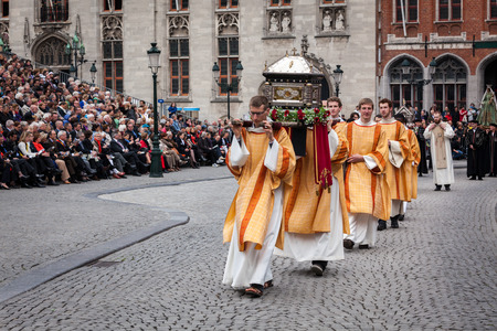 annual events: BRUGES, BELGIUM - MAY 17: Annual Procession of the Holy Blood on Ascension Day. Locals perform an historical reenactment and dramatizations of Biblical events. May 17, 2012 in Bruges (Brugge), Belgium Editorial