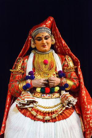 kathakali: CHENNAI, INDIA - SEPTEMBER 8: Indian traditional dance drama Kathakali preformance on September 8, 2009 in Chennai, India. Performer plays Subhadra (minukku) character of Ramayana Editorial