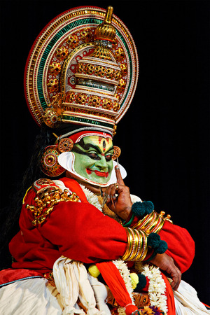 mahabharata: CHENNAI, INDIA - SEPTEMBER 7: Indian traditional dance drama Kathakali preformance on September 7, 2009 in Chennai, India. Performer plays Arjuna (pacha) character