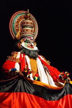 kathakali: CHENNAI, INDIA - SEPTEMBER 9: Indian traditional dance drama Kathakali preformance on September 9, 2009 in Chennai, India. Performer plays Maricha (kathi) character of Ramayana