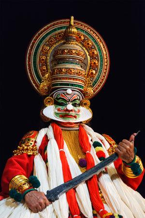 kathakali: CHENNAI, INDIA - SEPTEMBER 9: Indian traditional dance drama Kathakali preformance on September 9, 2009 in Chennai, India. Performer plays Ravana (kathi) character in Ramayana drama