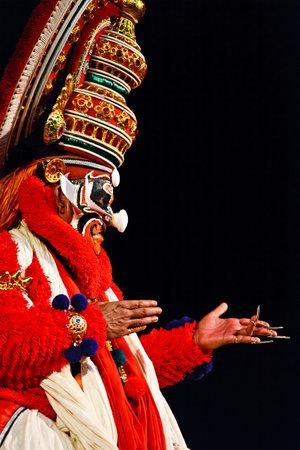 ramayana: CHENNAI, INDIA - SEPTEMBER 9: Indian traditional dance drama Kathakali preformance on September 9, 2009 in Chennai, India. Performer plays monkey king Sugriva (thadi) character in Ramayana drama