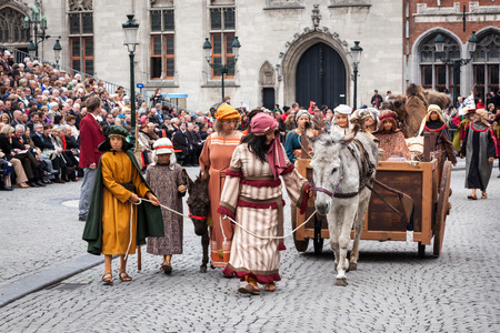 biblical events: BRUGES, BELGIUM - MAY 17: Annual Procession of the Holy Blood on Ascension Day. Locals perform an historical reenactment and dramatizations of Biblical events. May 17, 2012 in Bruges (Brugge), Belgium Editorial