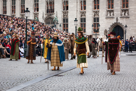 pilgrim costume: BRUGES, BELGIUM - MAY 17: Annual Procession of the Holy Blood on Ascension Day. Locals perform an historical reenactment and dramatizations of Biblical events. May 17, 2012 in Bruges (Brugge), Belgium Editorial