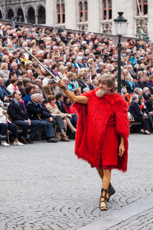 pilgrim costume: BRUGES, BELGIUM - MAY 17: Annual Procession of the Holy Blood on Ascension Day. Locals perform  dramatizations of Biblical events - Esau character. May 17, 2012 in Bruges (Brugge), Belgium Editorial