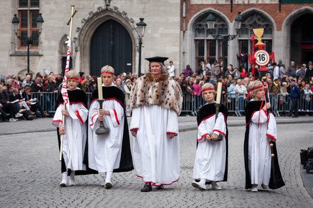historical events: BRUGES, BELGIUM - MAY 17: Annual Procession of the Holy Blood on Ascension Day. Locals perform an historical reenactment and dramatizations of Biblical events. May 17, 2012 in Bruges (Brugge), Belgium Editorial