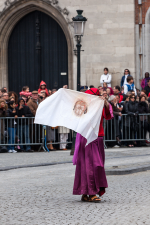 biblical events: BRUGES, BELGIUM - MAY 17: Annual Procession of the Holy Blood on Ascension Day. shroud of Christ - Locals perform an historical reenactment and dramatizations of Biblical events. May 17, 2012 in Bruges (Brugge), Belgium