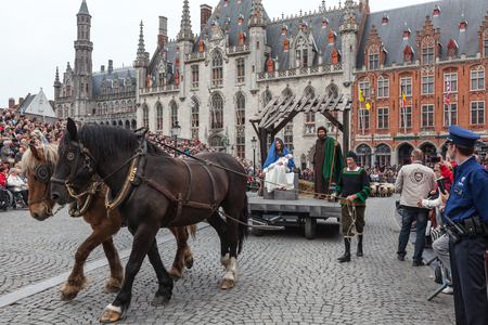 biblical events: BRUGES, BELGIUM - MAY 17: Annual Procession of the Holy Blood on Ascension Day. Locals perform  dramatizations of Biblical events - birth of Jesus Christ. May 17, 2012 in Bruges (Brugge), Belgium Editorial
