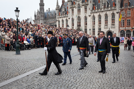 conclude: BRUGES, BELGIUM - MAY 17: Annual Procession of the Holy Blood on Ascension Day. City officials conclude the procession. May 17, 2012 in Bruges (Brugge), Belgium Editorial