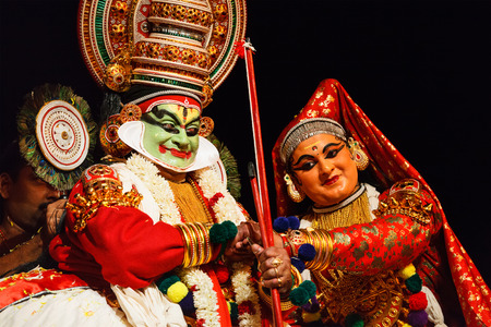 CHENNAI, INDIA - SEPTEMBER 8: Indian traditional dance drama Kathakali preformance on September 8, 2009 in Chennai, India. Performers plays Arjuna (pacha) and Subhadra characters