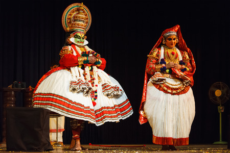 mahabharata: CHENNAI, INDIA - SEPTEMBER 8: Indian traditional dance drama Kathakali preformance on September 8, 2009 in Chennai, India. Performers plays Arjuna (pacha) and Subhadra characters