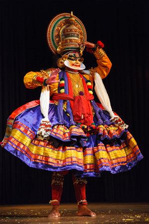 kathakali: CHENNAI, INDIA - SEPTEMBER 8: Indian traditional dance drama Kathakali preformance on September 8, 2009 in Chennai, India. Performers play and Balarama (pazhupu) character Ramayana.