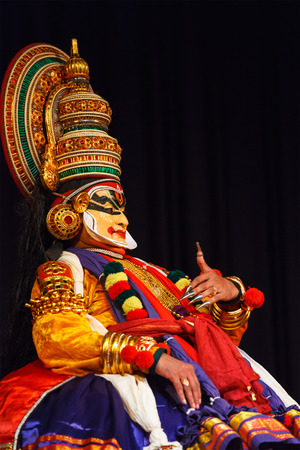 kerala culture: CHENNAI, INDIA - SEPTEMBER 8: Indian traditional dance drama Kathakali preformance on September 8, 2009 in Chennai, India. Performers play and Balarama (pazhupu) character Ramayana.