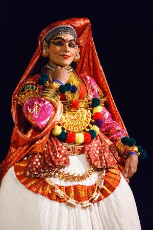 kathakali: CHENNAI, INDIA - SEPTEMBER 9: Indian traditional dance drama Kathakali preformance on September 9, 2009 in Chennai, India. Performer plays Sita (minukku) character of Ramayana