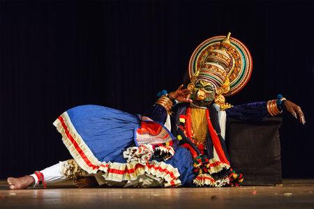 kathakali: CHENNAI, INDIA - SEPTEMBER 9: Indian traditional dance drama Kathakali preformance on September 9, 2009 in Chennai, India. Performer plays giant bird Jatayu character of Ramayana
