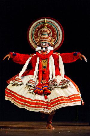 CHENNAI, INDIA - SEPTEMBER 9: Indian traditional dance drama Kathakali preformance on September 9, 2009 in Chennai, India. Performer plays monkey king Sugriva (thadi) character in Ramayana drama