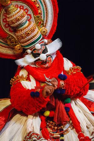 kathakali: CHENNAI, INDIA - SEPTEMBER 9: Indian traditional dance drama Kathakali preformance on September 9, 2009 in Chennai, India. Performer portrays monkey king Bali (thadi) character in Ramayana drama