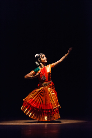 indian classical dance: CHENNAI, INDIA - SEPTEMBER 28: Bharata Natyam dance performed by female exponent on September 28, 2009 in Chennai, India. Bharatanatyam is a classical Indian dance form originating in Tamil Nadu state