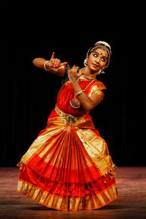 bharatanatyam: CHENNAI, INDIA - SEPTEMBER 28: Bharata Natyam dance performed by female exponent on September 28, 2009 in Chennai, India. Bharatanatyam is a classical Indian dance form originating in Tamil Nadu state
