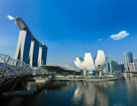 Travel Singapore background - Singapore skyline  Marina Bay daytime