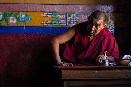 gelugpa: DISKIT, INDIA - SEPTEMBER 6: Tibetan Buddhist monk in Diskit gompa on September 6, 2011 in Diskit, India. Diskit gompa is the oldest and largest Buddhist monastery (gompa) in the Nubra Valley of Ladakh, India