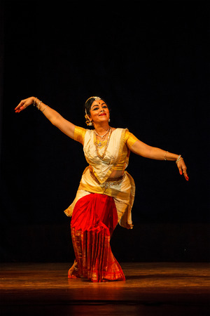 mahabharata: CHENNAI, INDIA - AUGUST 31: Bharata Natyam (Bharatanatyam - classical Indian dance) performance on August 31, 2009 in Chennai, Tamil Nadu, India. Exponent plays Draupadi character of Mahabharata epic