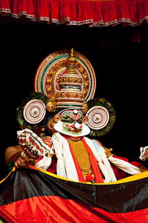 kathakali: CHENNAI, INDIA - SEPTEMBER 7: Indian traditional dance drama Kathakali preformance on September 7, 2009 in Chennai, India. Performer plays Ravana (kathi) character