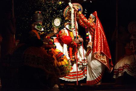 kathakali: Kathakali is a famous dance-drama of south indian state of Kerala. Arjuna (pacha) and Subhadra (minukku) characters.  Story of Katha Subhadra Haranam can be read here - http:www.kathakalinews.comstorystore031subhadraharanam.asp Editorial