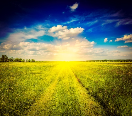 cross processed: Vintage retro effect filtered hipster style image of spring summer background - rural road in  green grass field meadow scenery landscape with blue sky Stock Photo