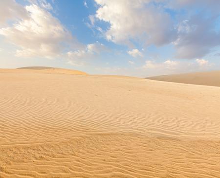sand dunes: White sand dunes on sunrise, Mui Ne, Vietnam Stock Photo