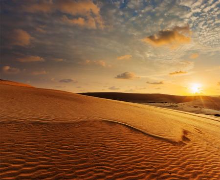 White sand dunes on sunrise, Mui Ne, Vietnam Stock Photo - 34232539