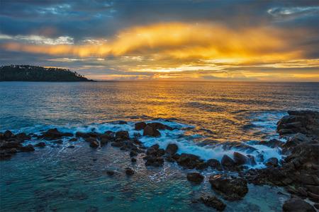 ocean sunset: Ocean sunset. Mirissa, Sri Lanka Stock Photo