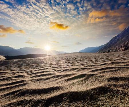 desierto: Las dunas de arena. Nubra Valley, Ladakh, India