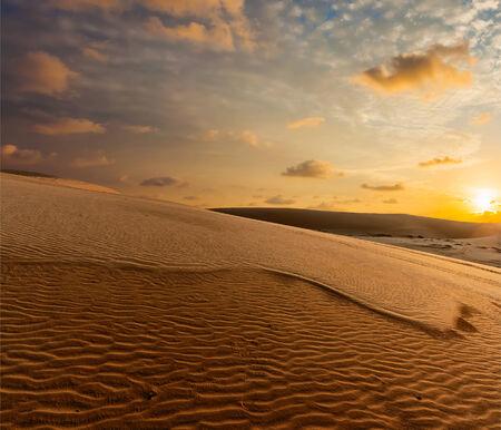 shadowed: White sand dunes on sunrise, Mui Ne, Vietnam Stock Photo