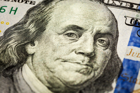 benjamin franklin: Benjamin Franklin portrait macro shot of 100 bill Stock Photo